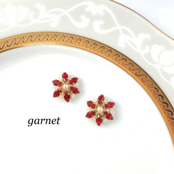 お花のスワロフスキー・アクセサリー[赤バージョン]|リケジョのハンドメイド