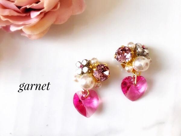 お花とピンクハートのアクセサリー|リケジョのハンドメイド◇プチシリーズ