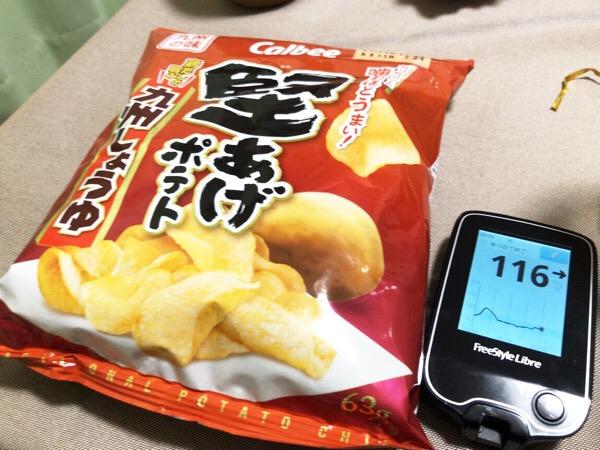 ランチのハヤシライスに注意するも夕食後に堅あげポテト九州しょうゆ味をつまんでしまった1日|糖尿病内科医のフリースタイルリブレ自己血糖記録
