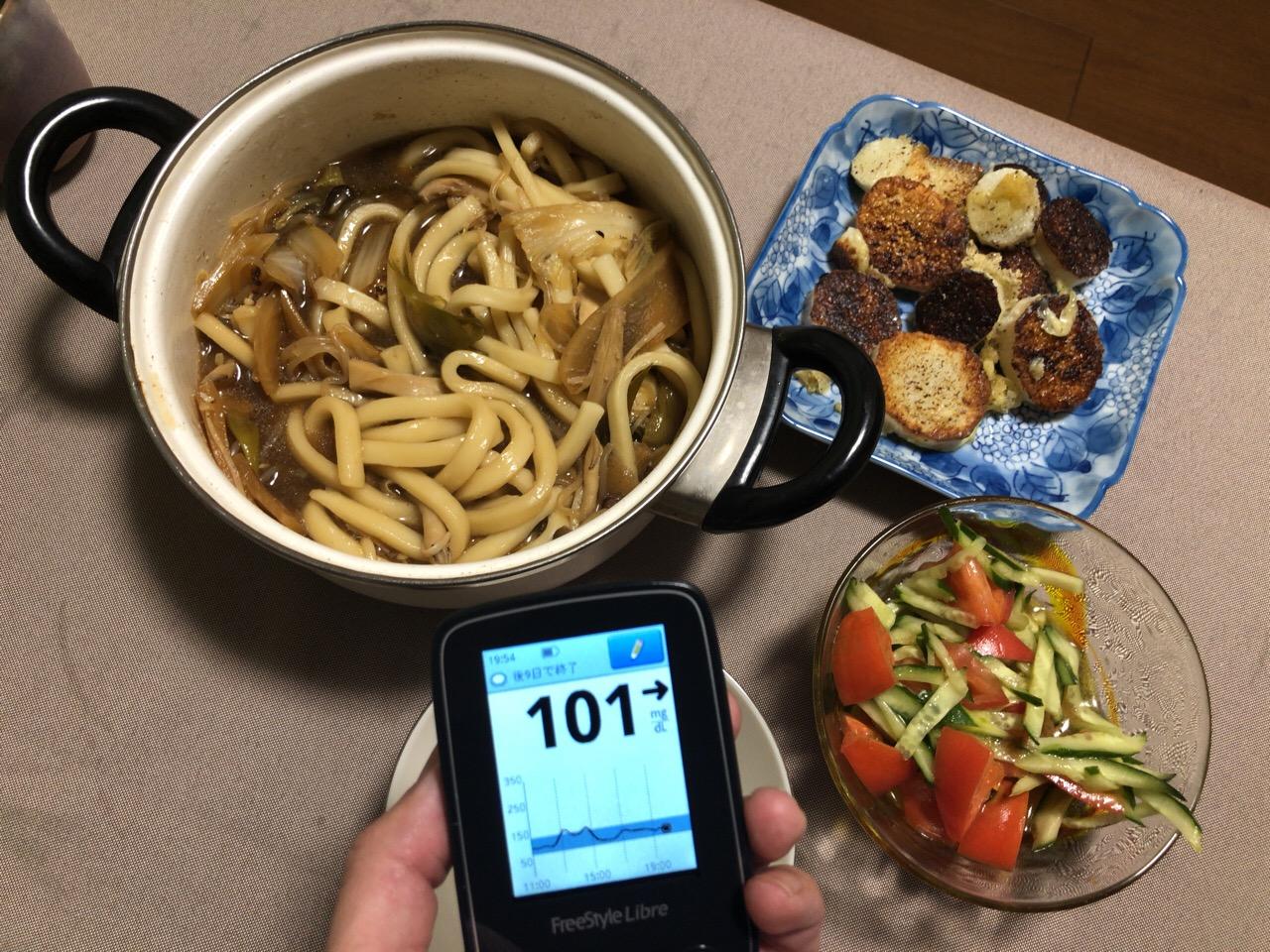 プロテインを飲んで出勤の仕事始め,夕食のうどんが鋭く200mg/dLまで血糖値を上げた1日|糖尿病内科医のフリースタイルリブレ自己血糖記録