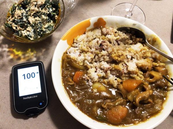 昼に丼、夜にカレーで200超えの血糖値ピークを2つも作った1日 糖尿病内科医のフリースタイルリブレ自己血糖記録